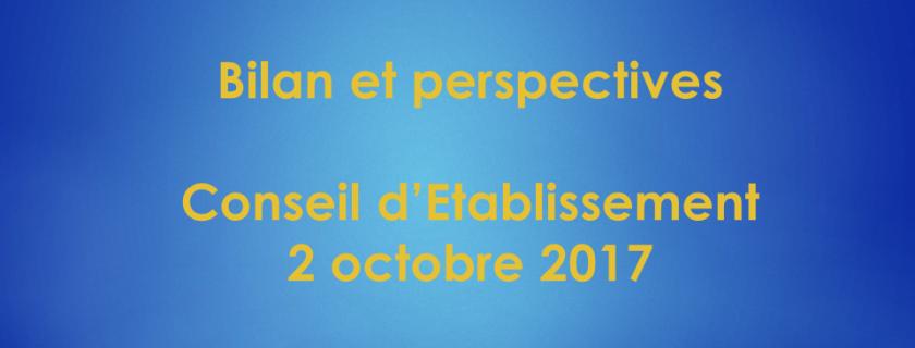 Conseil d'Etablissement du 2 octobre : Présentation UPE «Bilan et perspectives»