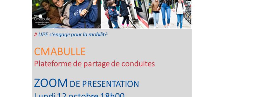 12 octobre 18h00 : ZOOM présentation Cmabulle